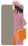 Shopping illustration series. Vector illustration of a fashionable shopping girl Royalty Free Stock Photo