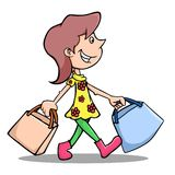 Shopping. Illustration of a woman who love to shop Royalty Free Stock Photography