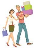 Shopping. Illustration young couple go shopping Royalty Free Stock Photo