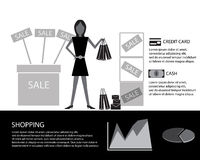 Shopping info with women Stock Photography