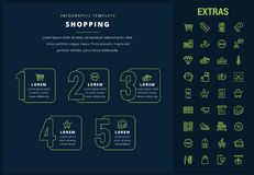 Shopping infographic template, elements and icons. Shopping options infographic template, elements and icons. Infograph includes line icon set with shopping Royalty Free Stock Images