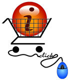 Shopping for information. Shopping on the internet for information - illustration Stock Images