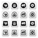 Shopping on internet black buttons set with shadow Stock Images