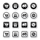 Shopping on internet black icons set with shadow Royalty Free Stock Photo