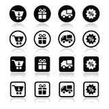 Shopping on internet black icons set with shadow Royalty Free Stock Image