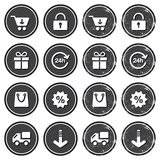 Shopping on internet retro badges - grunge style Stock Image