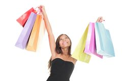 Shopping isolated on white. Shopping woman excited cheering happy isolated on white background Stock Images