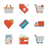 Shopping items line icons set. Abstract icons of e-commerce items, shopping cart and shop basket, retail elements and market objects. Unusual flat design line Stock Image