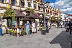 Shopping at the jam festival in Moscow, Russia. Moscow, Russia - August 14, 2015:People are shopping at the jam festival on Kuznetsky Most Street in the center Royalty Free Stock Image