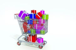 Shopping kart filled with presents Stock Images