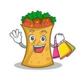 Shopping kebab wrap character cartoon. Vector illustration stock illustration