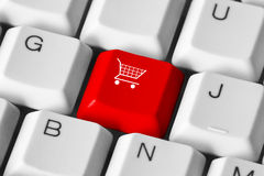 Shopping keyboard Stock Images