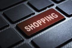 Shopping keyword on keyboard. Shopping keyword concept on computer keyboard technology background macro shot stock illustration