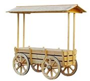 Shopping kiosk stylized as an old cart. On white background stock images