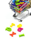 Shopping for knowledge. A cart filled with the alphabet Stock Photography