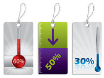 Shopping label set with thermometer Royalty Free Stock Photography