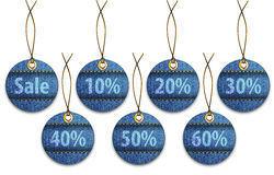 Shopping labels made of jeans. Price tags like Christmas balls. Vector illustration Royalty Free Stock Photo