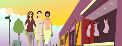 Shopping Ladies. Elegant Young Ladies walking in front of display windows Vector Illustration