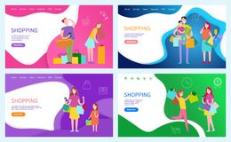 Shopping Ladies, Family of Shoppers Posters Set. With text sample vector. Customers with purchased products and gift for holidays. Presents packages stock illustration
