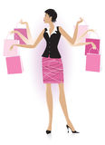 Shopping lady. Vector illustration of a lady with shopping bags vector illustration