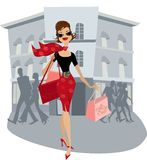 Shopping lady. Happy lady after her shopping Vector Illustration