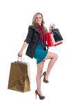 Shopping lady with beautiful legs Stock Photos