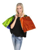 Shopping Lady with Colorful Bags Royalty Free Stock Images
