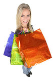 Shopping Lady with Colorful Bags Stock Photo