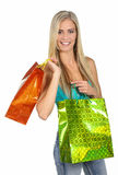 Shopping Lady with Colorful Bags Stock Photography