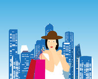 Shopping Lady. Vector illustration of a shopping lady on a city background Royalty Free Stock Photo