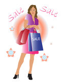 Shopping Lady. Vector illustration of young lady with shopping bags Stock Image
