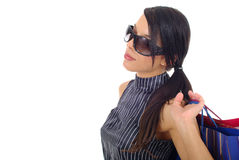Shopping lady in white Royalty Free Stock Image