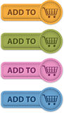 Shopping buttons. Shopping leather buttons. Add to cart icons. Vector illustration Royalty Free Stock Photography