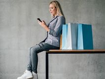 Shopping leisure urban female lifestyle copy space stock photography