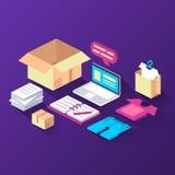 shopping leverans Isometrisk vektorillustration vektor illustrationer