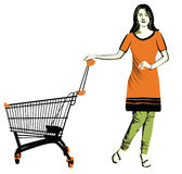 Shopping lifestlye. Illustration of a Woman shopping Royalty Free Stock Images