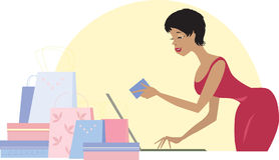 Shopping on line vector illustration