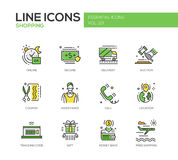 Shopping - line design icons set Royalty Free Stock Images