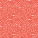 Shopping line icon pattern set Royalty Free Stock Photography