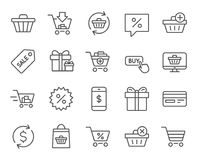 Shopping line icons. Gifts, Presents and Sale. Royalty Free Stock Photos