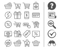 Shopping line icons. Gifts, Presents and Sale. Stock Photography