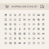 Shopping Line Icons Set Black Stock Image