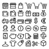 Shopping line icons set, buying online, store minimalist symbols - big pack Stock Photography