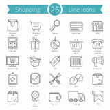 25 Shopping Line Icons. Set of 25 shopping or e-commerce line icons Royalty Free Stock Photo