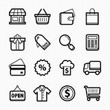 Shopping line icons on white background - Vector illustration Royalty Free Stock Image