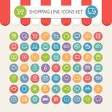 Shopping Line Round Icons Set Stock Image