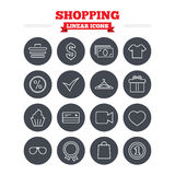 Shopping linear icons set. Thin outline signs Stock Photo