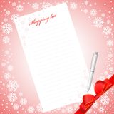 Shopping list. On a background with snowflakes Stock Images