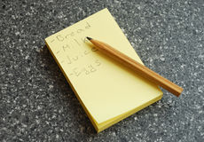Shopping list Stock Photography