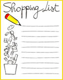Shopping list. Personalized shopping list with freehand draw, vector royalty free illustration